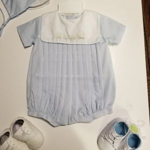 Petit Ami Baby Boy Train Bubble Outfit 3m